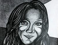 Mi vieja - Puntillismo - Tinta sobre papel 50x35