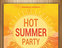 Free Hot Summer Party Flyer PSD Template