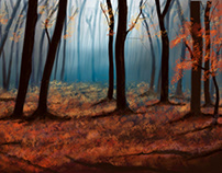 Autumn trees landscape art