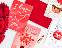 Watercolor Lettering Valentine's Day cards