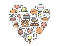 Sweets outline vector illustrations and patterns