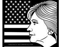 Hillary Clinton profile vector.