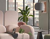Modular Office Sofa CGI