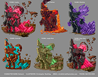 Geology-themed Character Design Variations