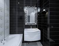 Bathroom interior black and white