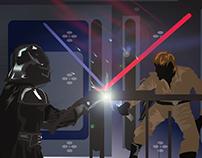Darth Vader vs Luke Skywalker vectors