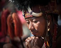 Naga Warrior in traditional warrior dress at  hornbill
