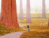 Neve e determinação no bosque das árvores antigas.