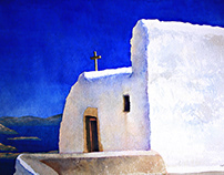 Watercolour Patmos Πάτμος