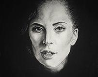 "Lady Gaga Charcoal Drawing 18"" x 24"""