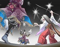 "Illustrations for the aimation of ""Hiroshima Kagura"""