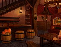 Art-interior of medieval tavern(consept)