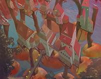 Яблочная деревня \ детская иллюстрация