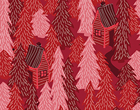 Pattern: Swedish Forest, red