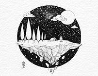 Lands End Camper Ink Drawing