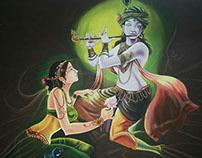 Radha Krishna : Acrylic on canvas