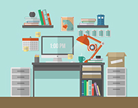 Flat Desk Illustration