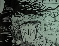 Arte comemorativa ao mês de outubro/helloween