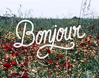 Lettering : bonjour