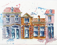 Haarlem Watercolor Houses