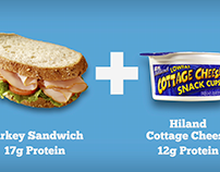 Protein Pairings campaign for Hiland Dairy.