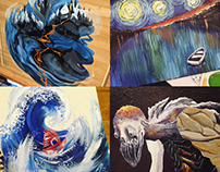 Acrylic Samples (Paper, Canvas, Wood)