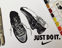 Watercolour series 5: Nike Shoes Painting