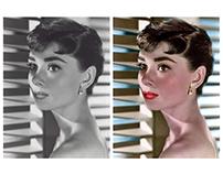 Colorisation of a photograph of Audrey Hepburn