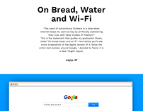 On Bread, Water and Wi-Fi