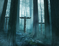 Forest totem Matte painting