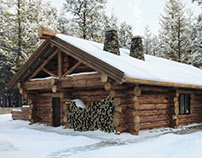 Log bathhouse (winter and summer)