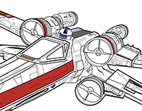 X-Wing Fighter Technical Drawing
