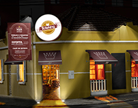 Boteking facade, menu and displays