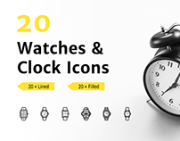 20 Watches & Clock Icons - Lined & Filled