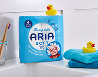 Aria Toilet Tissue branding and packaging