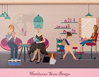 Hairdresser Scene Design for project