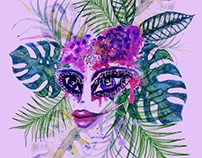 Female face with sugar skull makeup and Tropic leaves