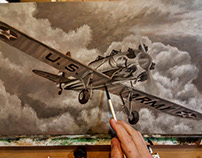 PT-22 Ryan Recruit Oil Painting Work-in-Progress