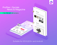 Mobile Theme UI Kit | Profiles | Socials | News & Magaz