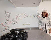 Walldrawing in the kitchen