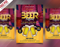 Freebie : Beer Festival Flyer Free PSD Template
