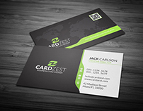 Corporate Business Card Template with Global Map Free P