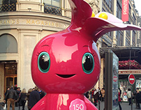 the mascot for Printemps' 150th birthday