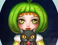 Green pumpkin girl