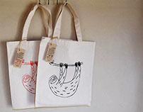 Silkscreen Printing Sloth bags my original products