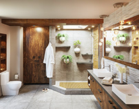 Tropical bathroom in Corona 4D