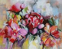 """""""Flowers"""" Acrylic on canvas"""