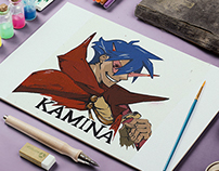 Gouache Illustration Anime Character