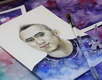 Watercolor portrait - Galaxy