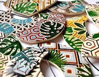 ceramic bib necklaces with tropical + texture prints